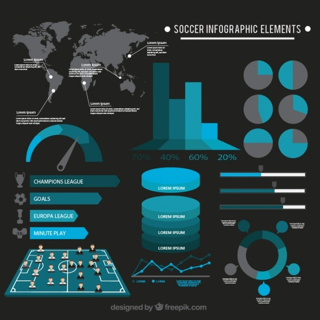 Grey and blue infographic elements
