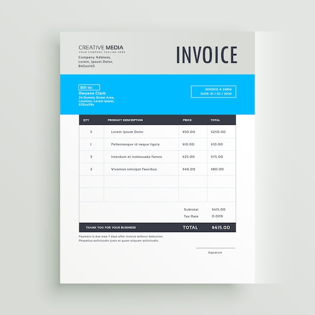 Grey And Blue Invoice Template  Free Invoice Design