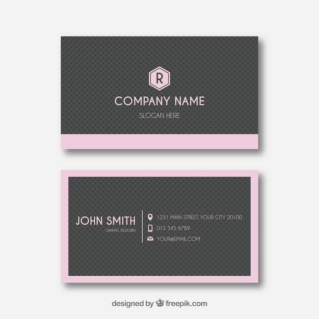 Grey and pink business card template vector free download grey and pink business card template free vector colourmoves