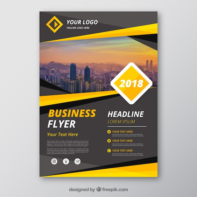Grey and yellow business flyer template Free Vector