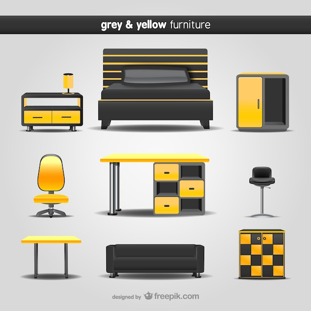 Grey and yellow furniture pack Free Vector