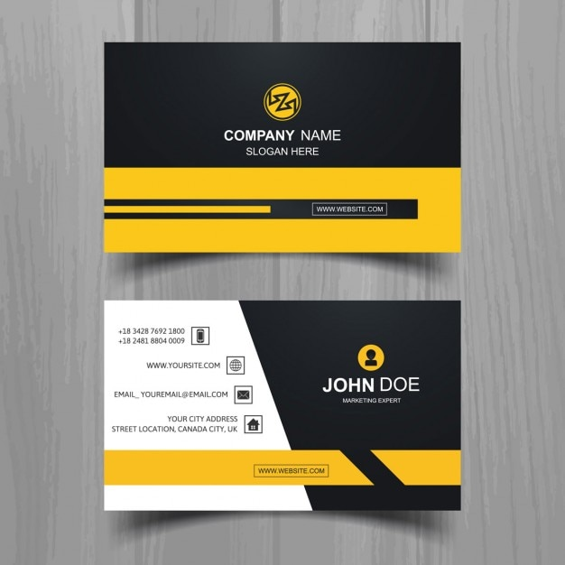 Grey and yellow modern business card