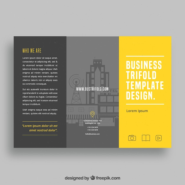 Grey And Yellow Trifold Brochure Template Vector Free Download