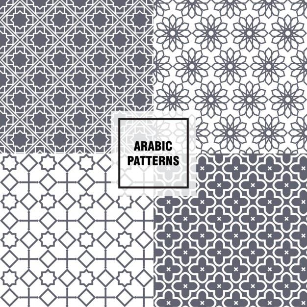 Grey arabic patterns Vector | Free Download