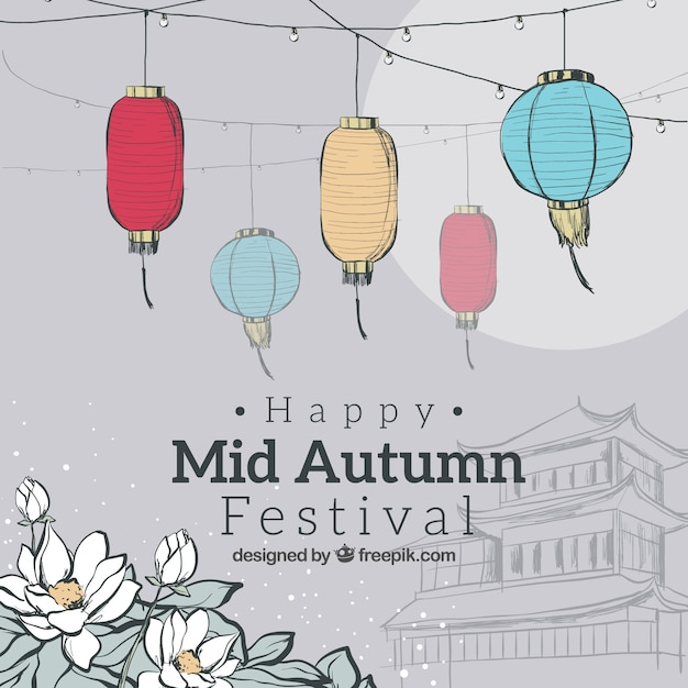 Grey background, mid autumn festival Free Vector