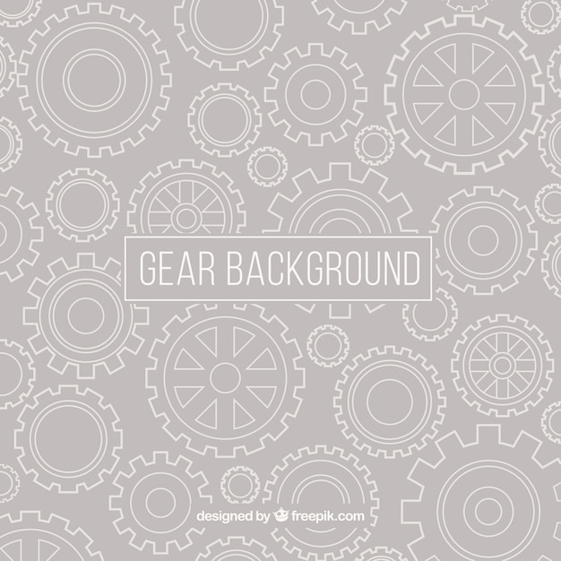 Grey background of white gears Premium Vector