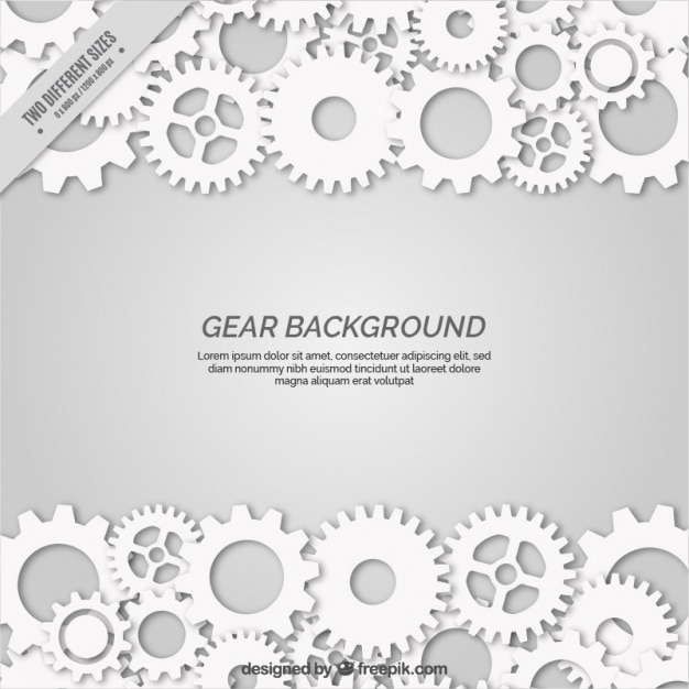 Grey background with white gears in flat style Premium Vector