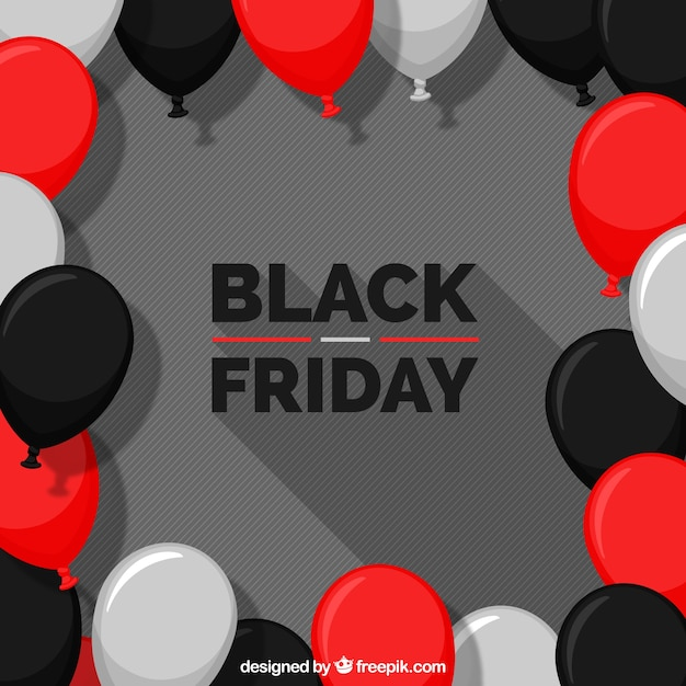 Grey black friday design with balloons