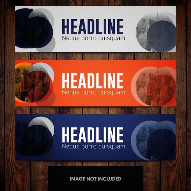 Grey blue and orange business banner design templates with cityline and circles