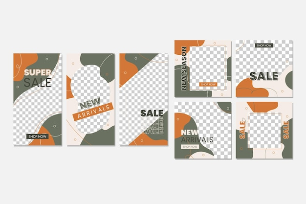 Grey and bown instagram post collection Premium Vector