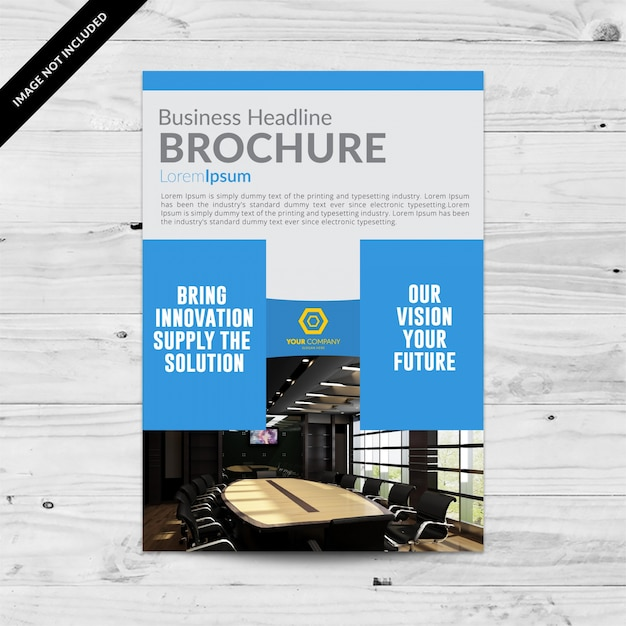 Grey business brochure with blue details