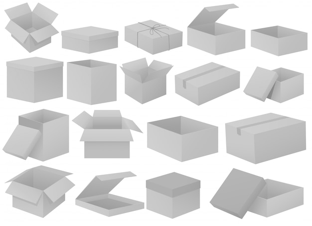 Grey cardboard boxes Free Vector