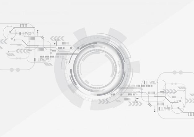Grey circle technology background Premium Vector