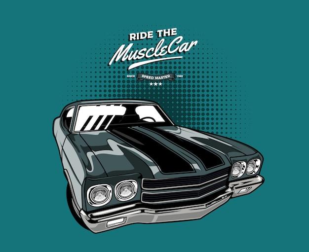 Grey classic muscle car Premium Vector