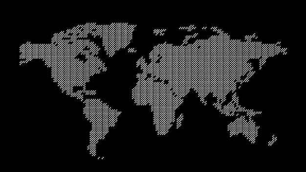Grey dotted world map Premium Vector