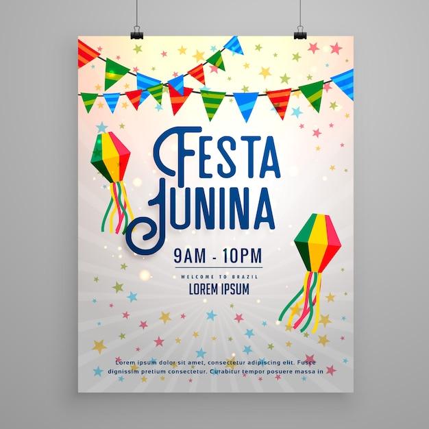 Grey festa junina poster Premium Vector