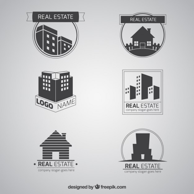 Grey flat real estate logotypes Free Vector