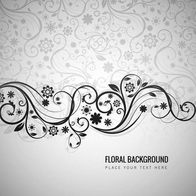 Grey floral background in ornamental style Free Vector