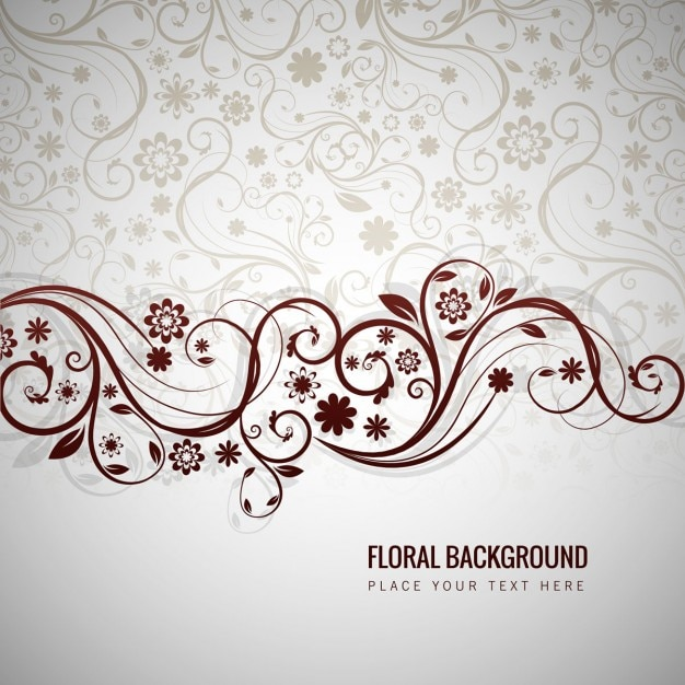 Grey floral background Free Vector