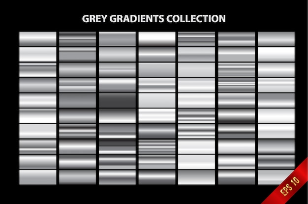 Grey gradients collection Premium Vector