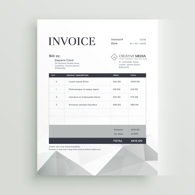 Grey Invoice Template With Geometric Shapes  Graphic Design Invoices