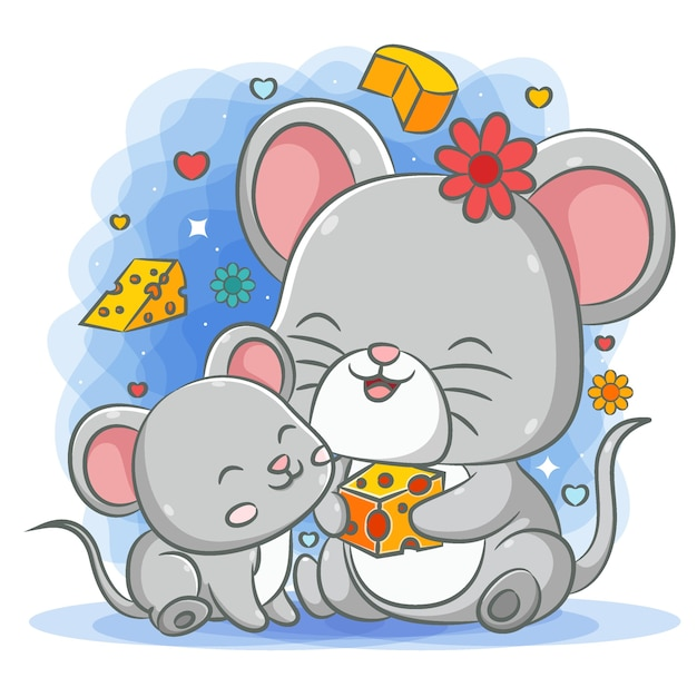 Grey mother mouse giving the cheese to her baby mouse Premium Vector