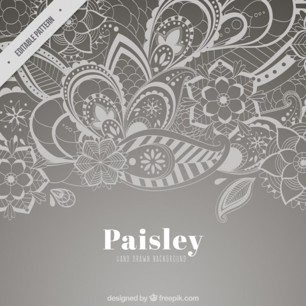 grey paisley floral background vector free download