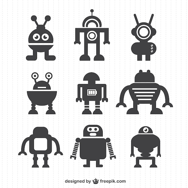 Grey robot silhouettes Free Vector
