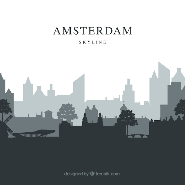 Grey skyline of amsterdam Free Vector