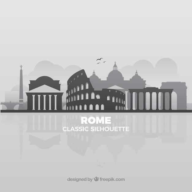 Grey skyline of rome Free Vector