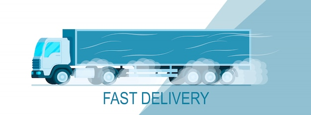 Grey storage delivery truck moving on road banner Premium Vector
