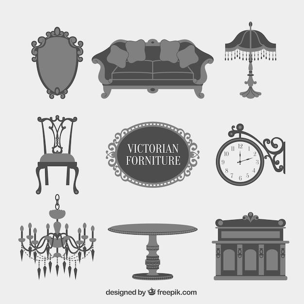 Grey victorian furniture icon collection vector free for Sofa zeichnen