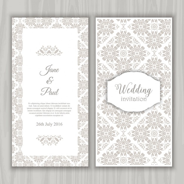 Grey vintage wedding invitation vector free download grey vintage wedding invitation free vector stopboris Choice Image