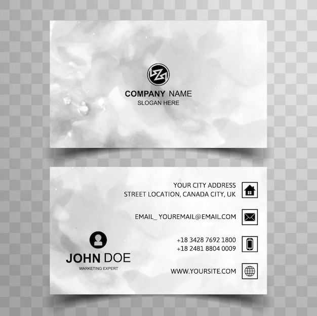 Grey watercolor visiting card design
