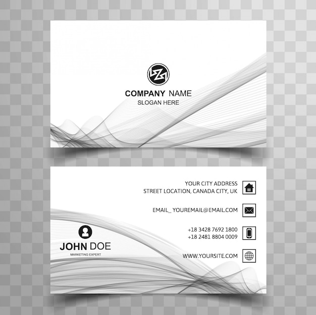 Grey wavy modern business card