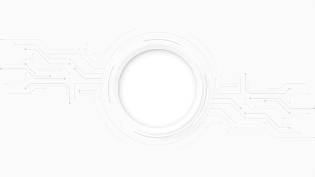 灰色の白抽象的な技術の背景、ハイテクデジタル接続、通信、ハイテクコンセプト、科学、技術の背景 Premiumベクター