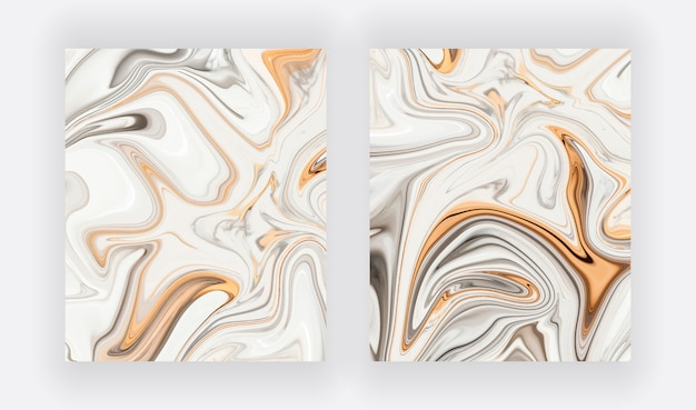 Grey, white with gold liquid ink painting abstract set Premium Vector