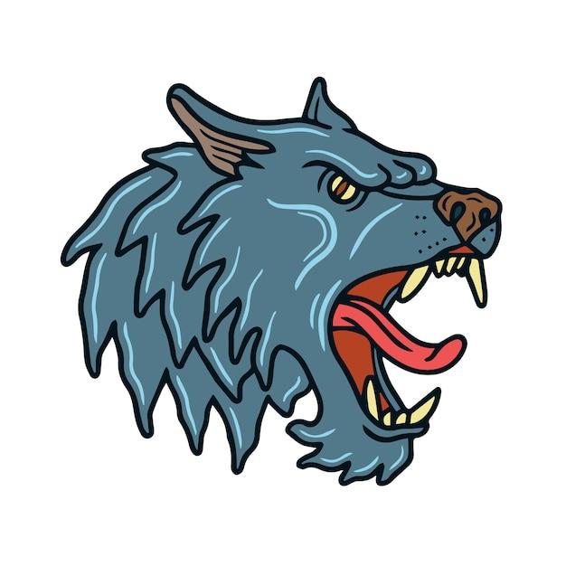 Grey wolf old school tattoo Premium Vector