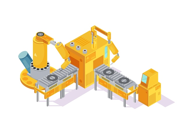 Grey yellow welding conveyor with robotic hands and computer control on white isometric Free Vector