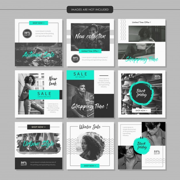 Greyscale Fashion Social Media Post Template Vector Premium Download - Social media post template