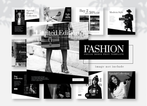 Greyscale fashion social media post template Premium Vector