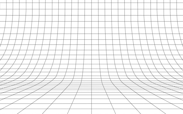 Grid curved background empty in perspective,  illustration. Premium Vector