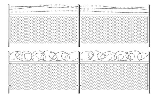 Сетка забор с колючей проволокой Бесплатные векторы