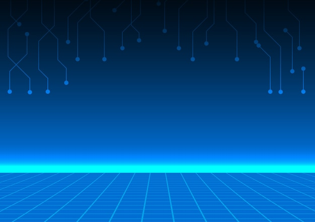 Grid floor with blue horizontal light and circuit lines Premium Vector