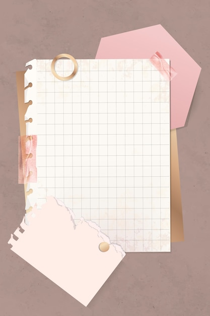 Grid paper note template Free Vector