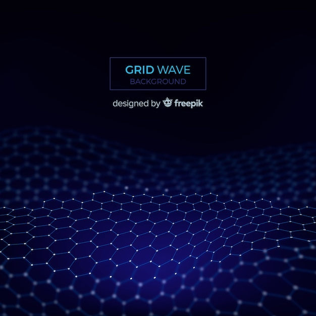 Grid wave background Free Vector