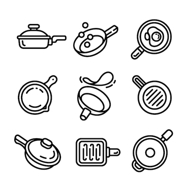 Griddle icon set, outline style Premium Vector