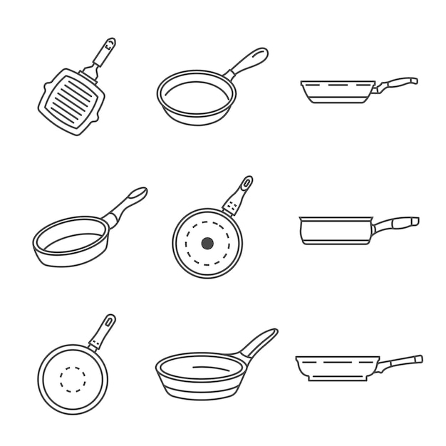 Griddle pan icon set. outline set of griddle pan vector icons Premium Vector
