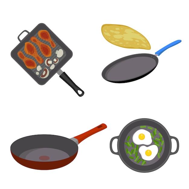 Griddle pan icon set Premium Vector