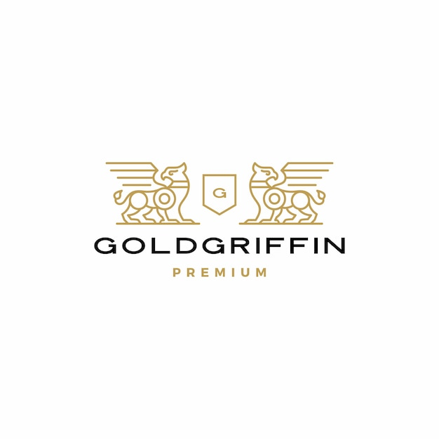 Griffin coat of arms logo vector Premium Vector